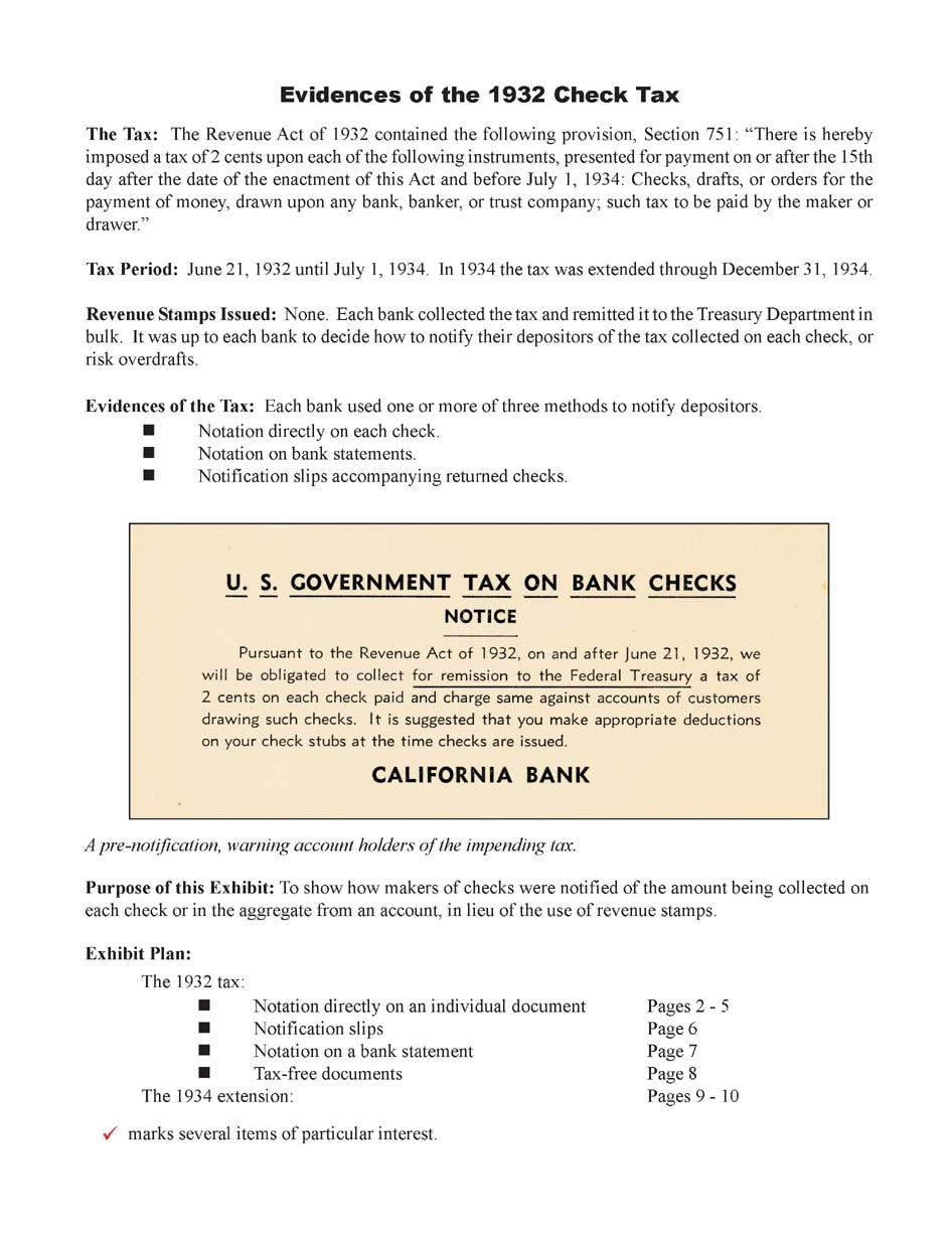 Evidence of the 1932 Check Tax