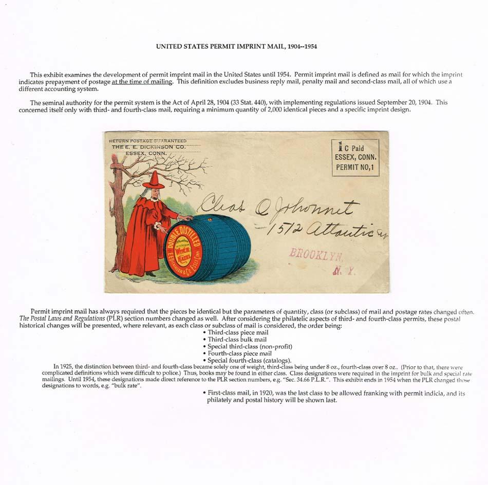 United States Permit Imprint Mail, 1904-1954