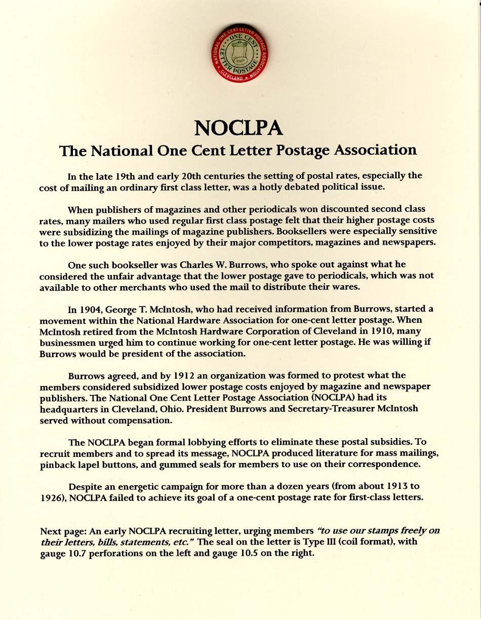 NOCLPA - The National One Cent Letter Postage Association