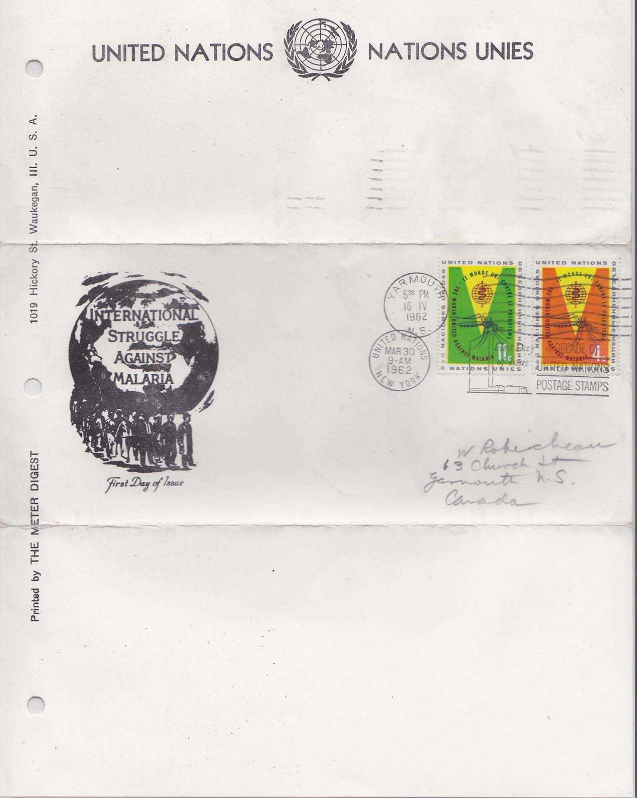 United Nations Scott 102-103<br />(FDC w/ Meter Digest Cachet - Counterfeit Artmaster Cachet imprinted on an Album Page)