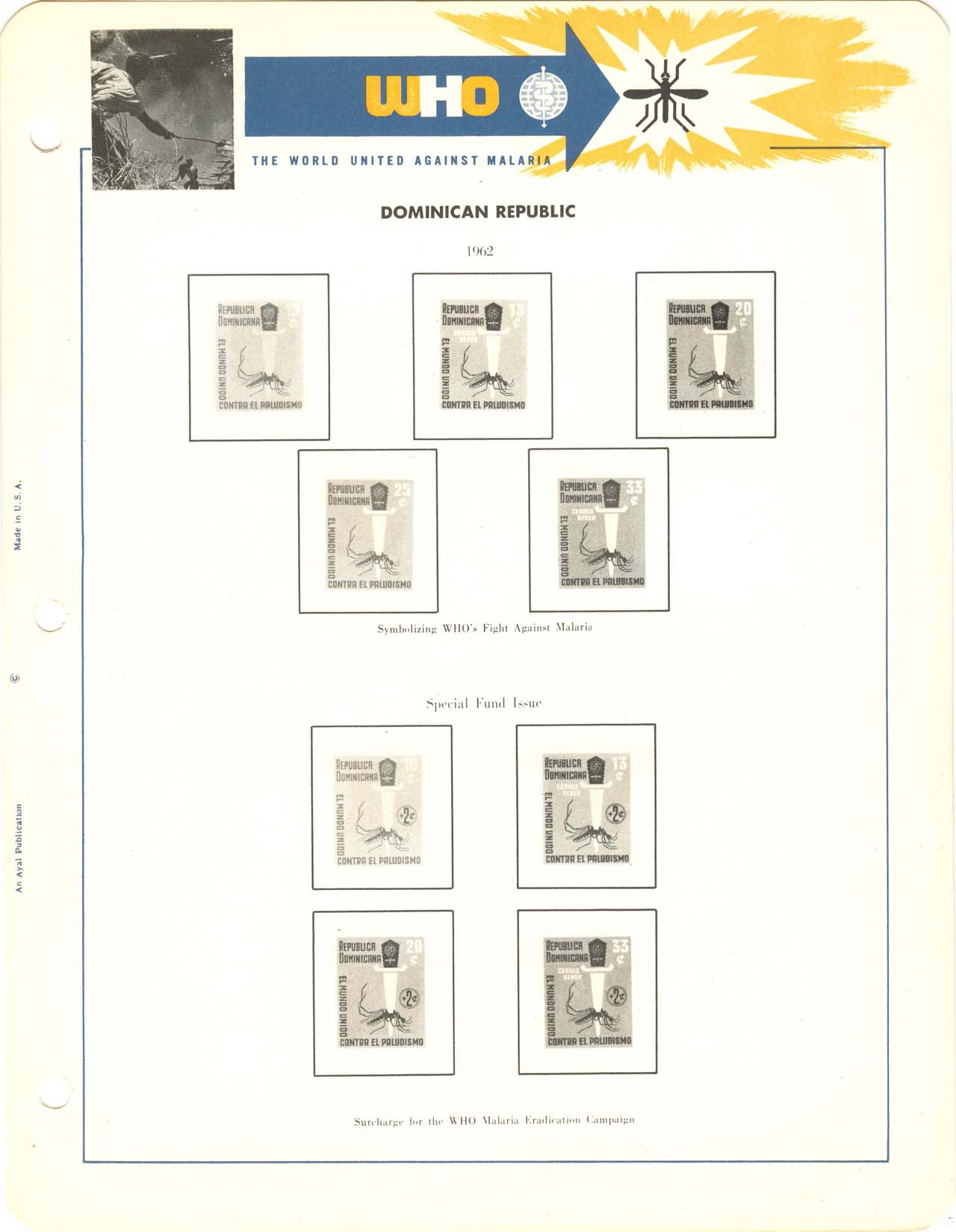 Malaria philatelists international ayal album page for dominican republic publicscrutiny Images