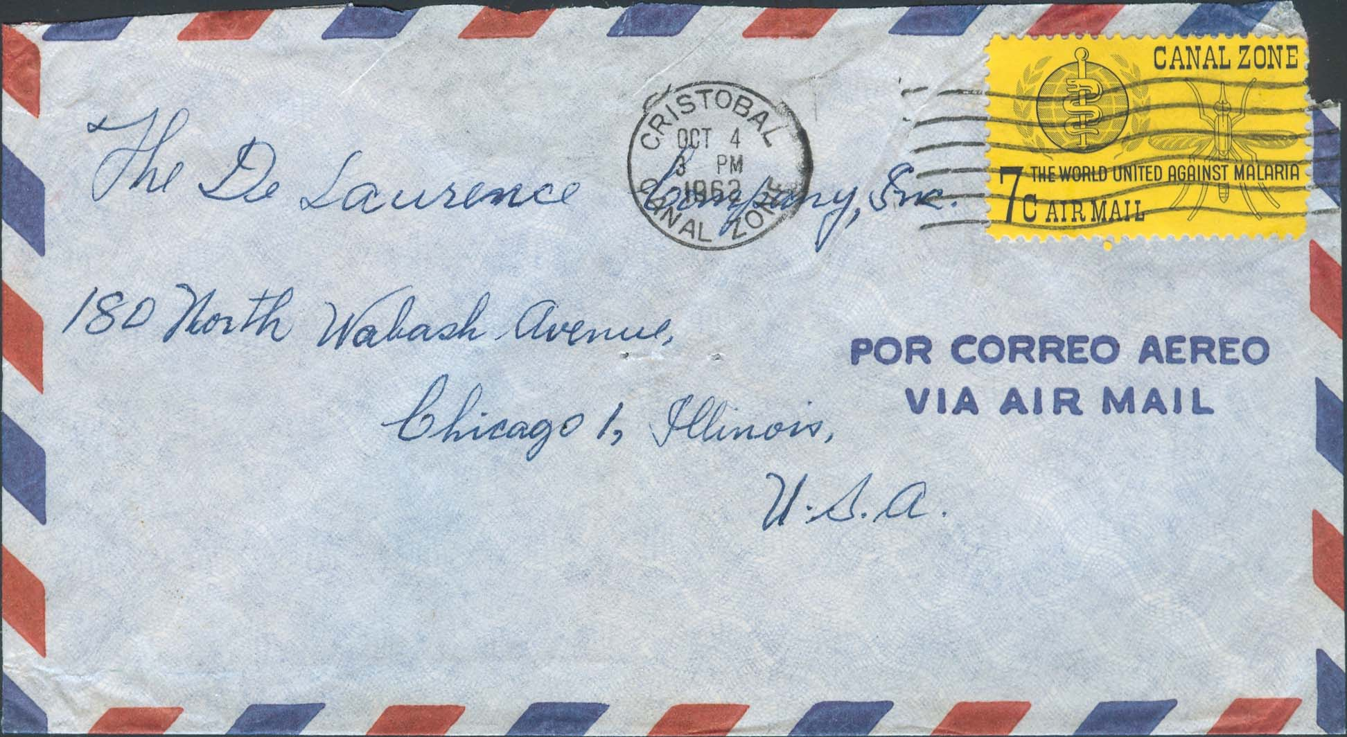 October 4, 1962, 3:00 PM, Cristobal, CZ to Chicago, IL