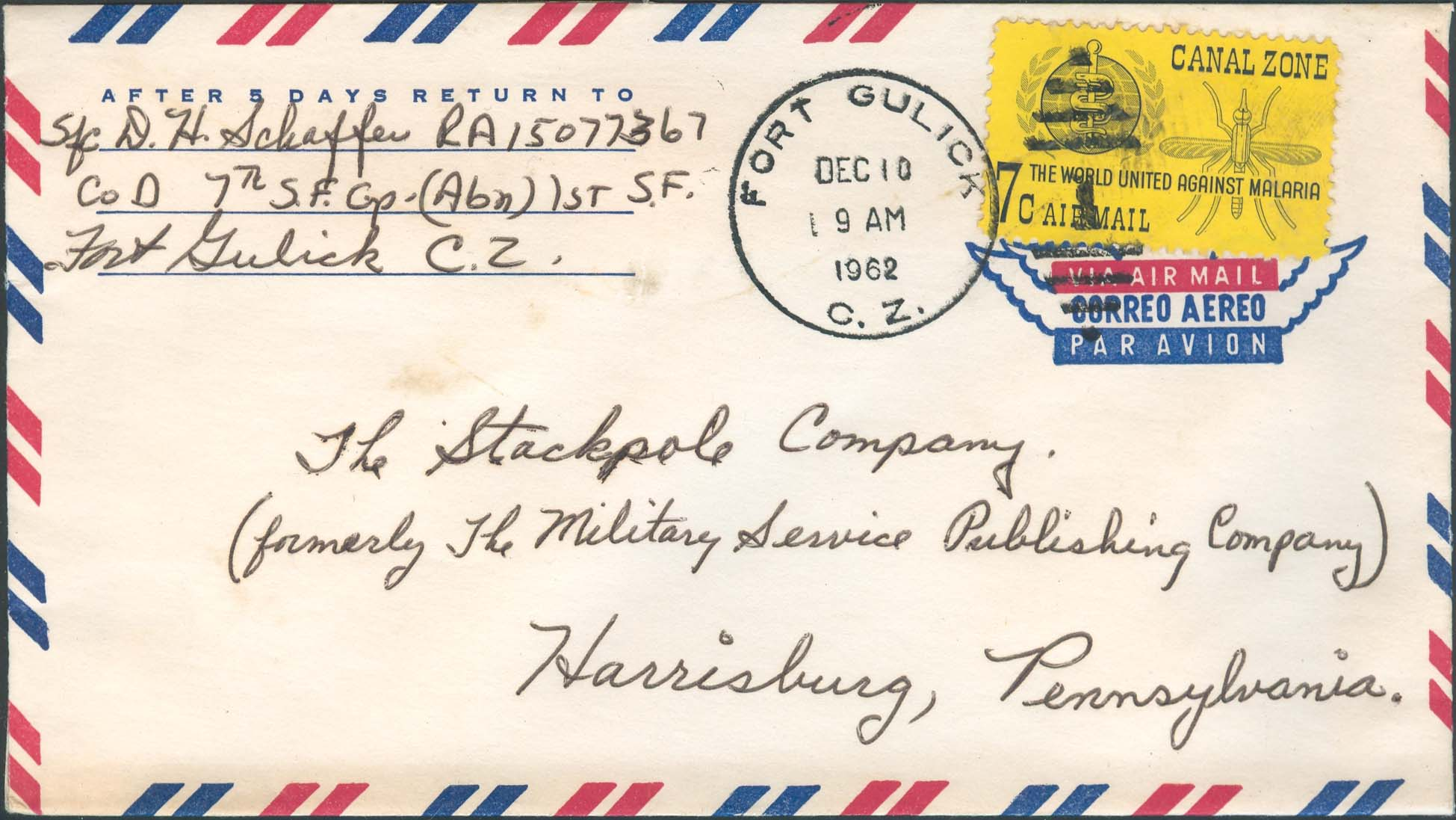 December 10, 1962, Fort Gulick, CZ to Harrisburg, PN