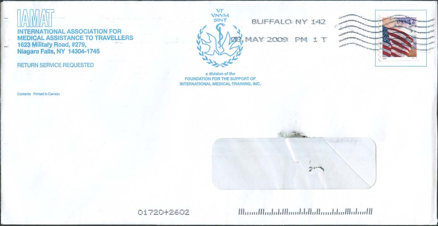 IAMAT cover sent for the receipt of a donation