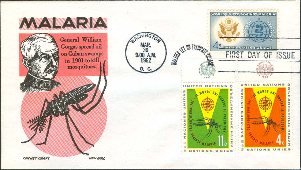 Ken Boll FDC Cachet (Red/Black) w/ United States Scott 1194 and United Nations Scott 102-103.