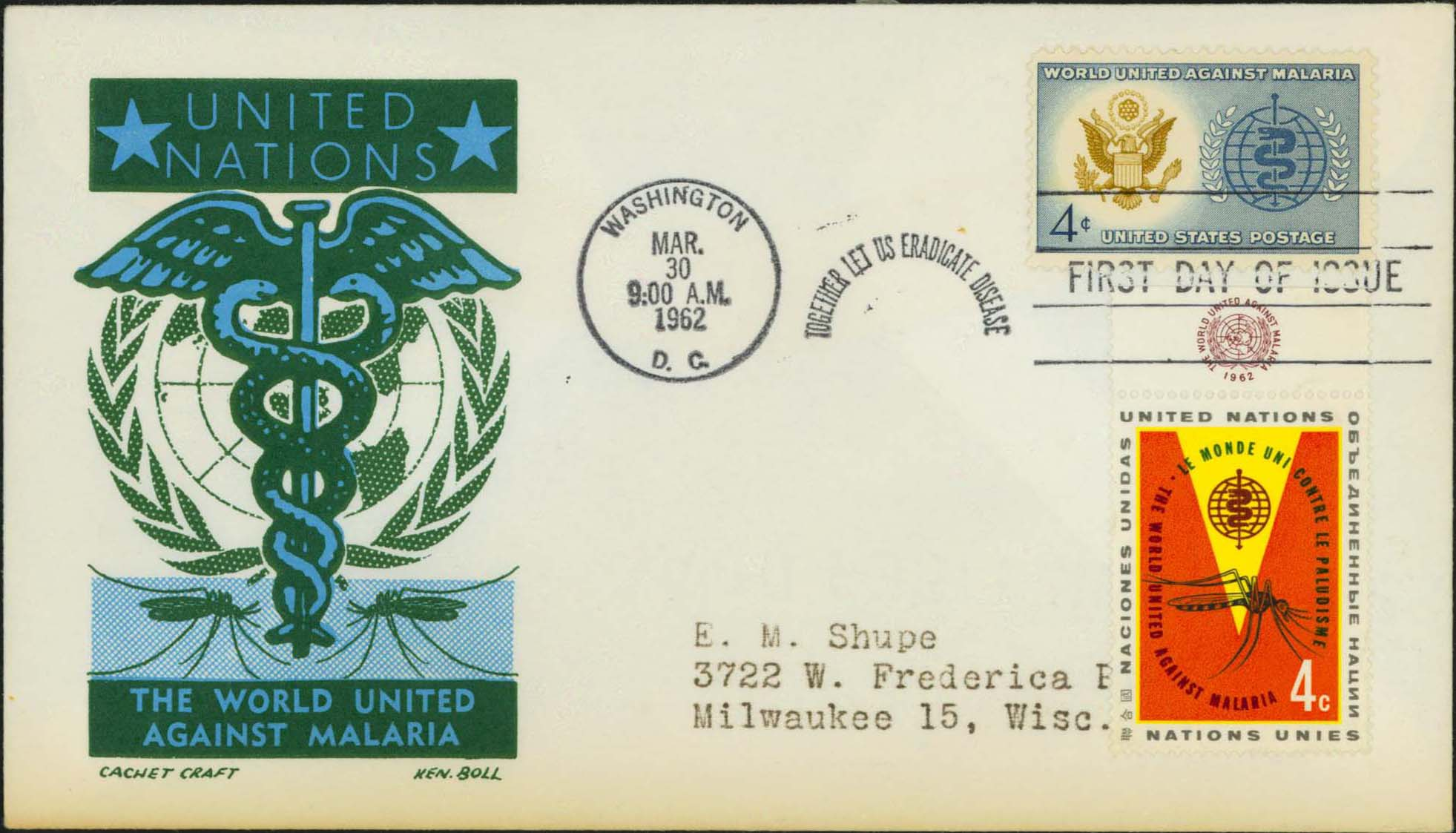 Ken Boll FDC Cachet (Blue/Green) w/ United Nations Scott 102 And United States Scott 1194