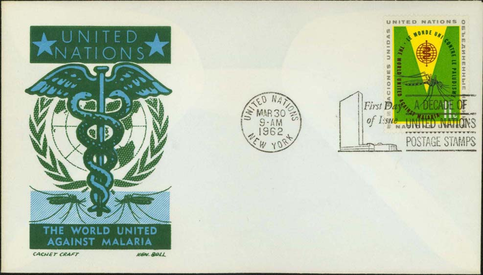 Ken Boll FDC Cachet (Blue/Green) w/ United Nations Scott 102-103