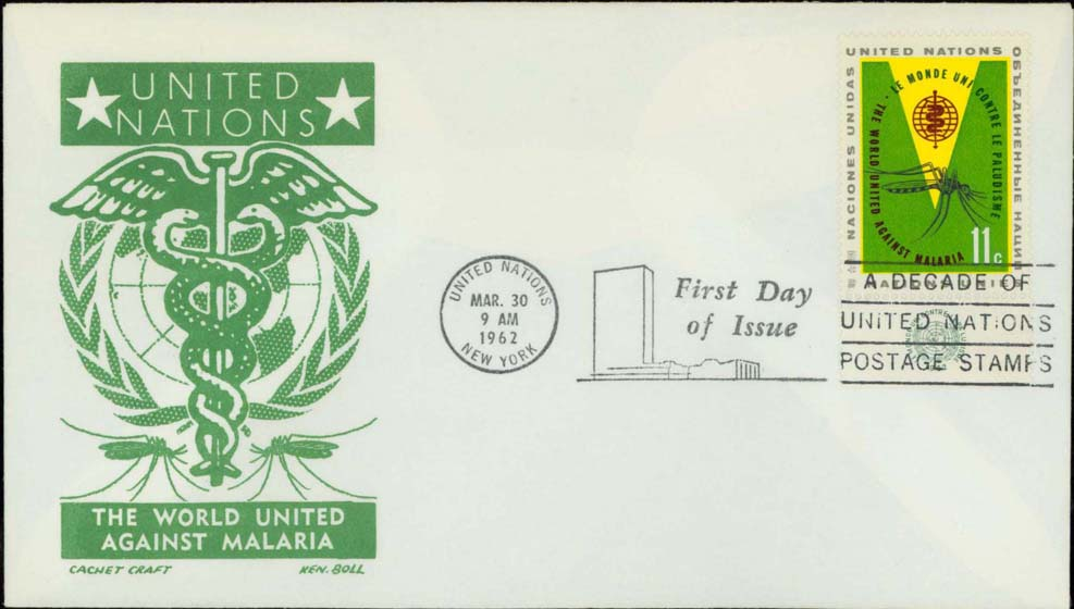 Ken Boll FDC Cachet (Green) w/ United Nations Scott 103