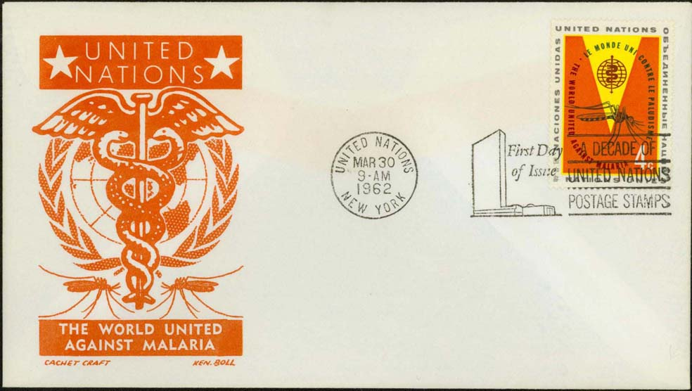 Ken Boll FDC Cachet (Orange) w/ United Nations Scott 102