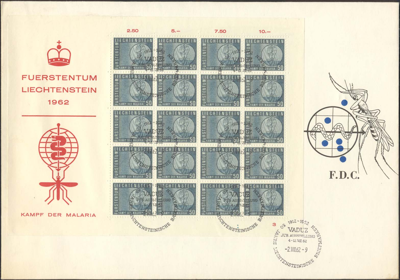 Scott 371 (FDC w/ Full Sheet (Plate 3) w/ Mosquito/Snake Blue/Black )