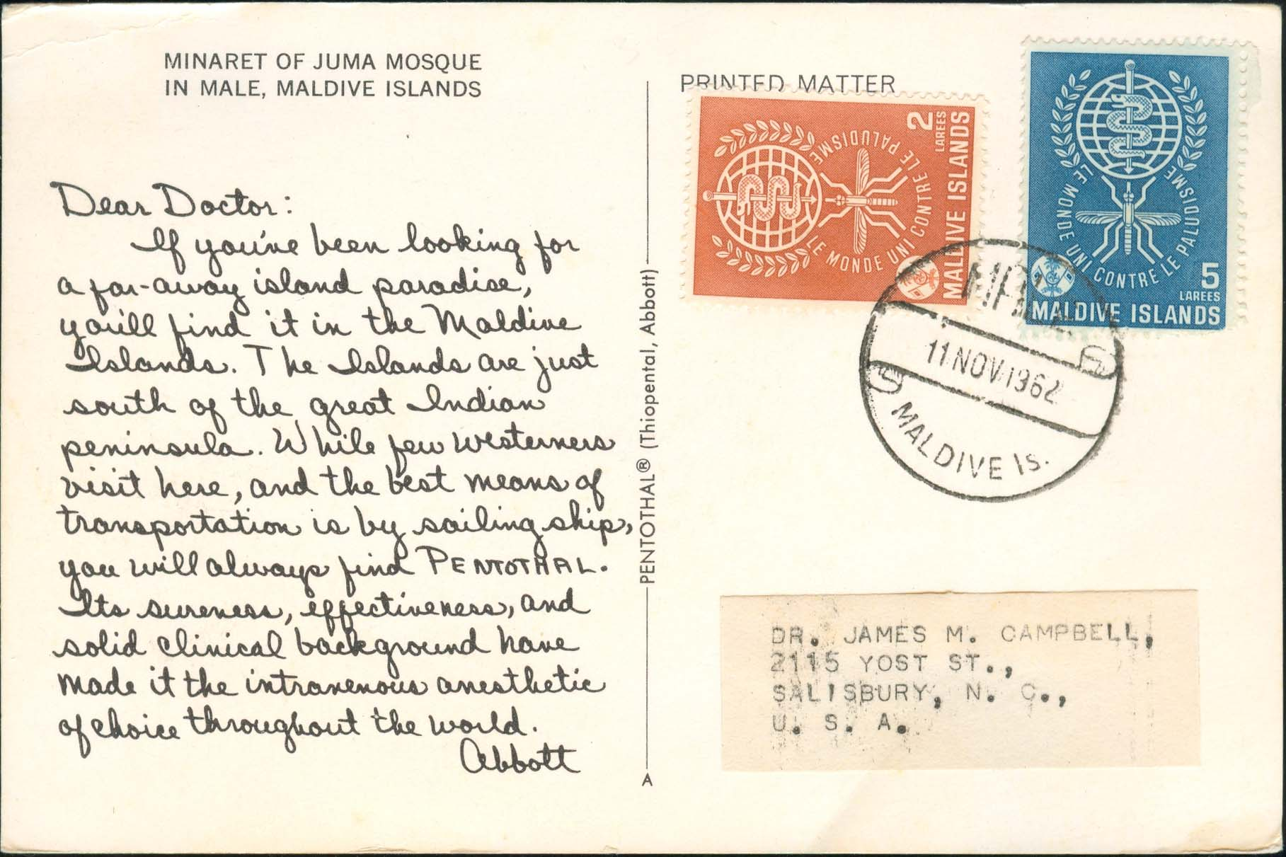 Dear Doctor Postcard - Type A - United States - 1962, Nov 11