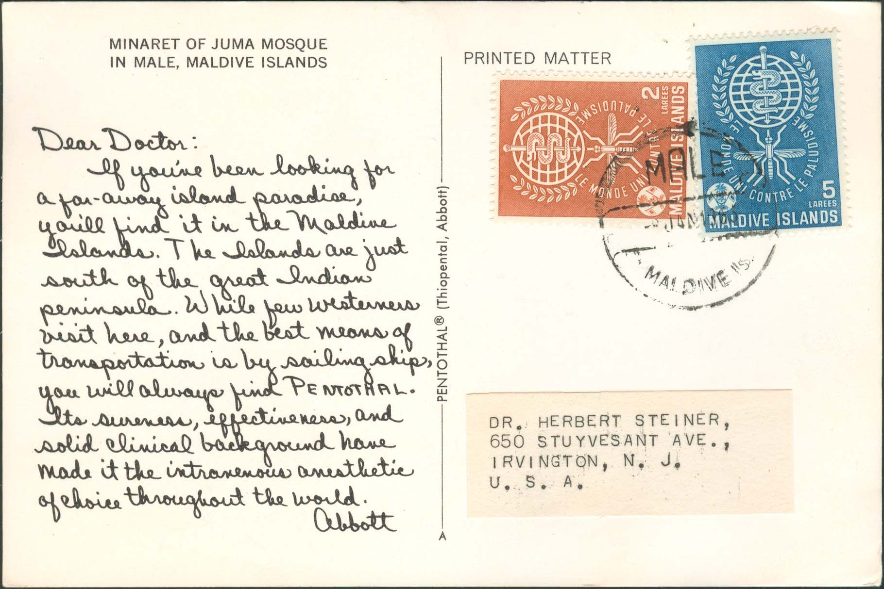 Dear Doctor Postcard - Type A - United States - 1963, Jan 8