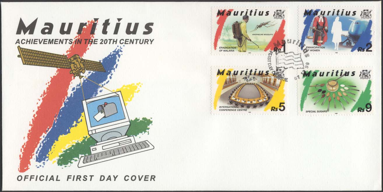 Scott 890 (Official Multicolored FDC (w/ Satellite and Computer) )