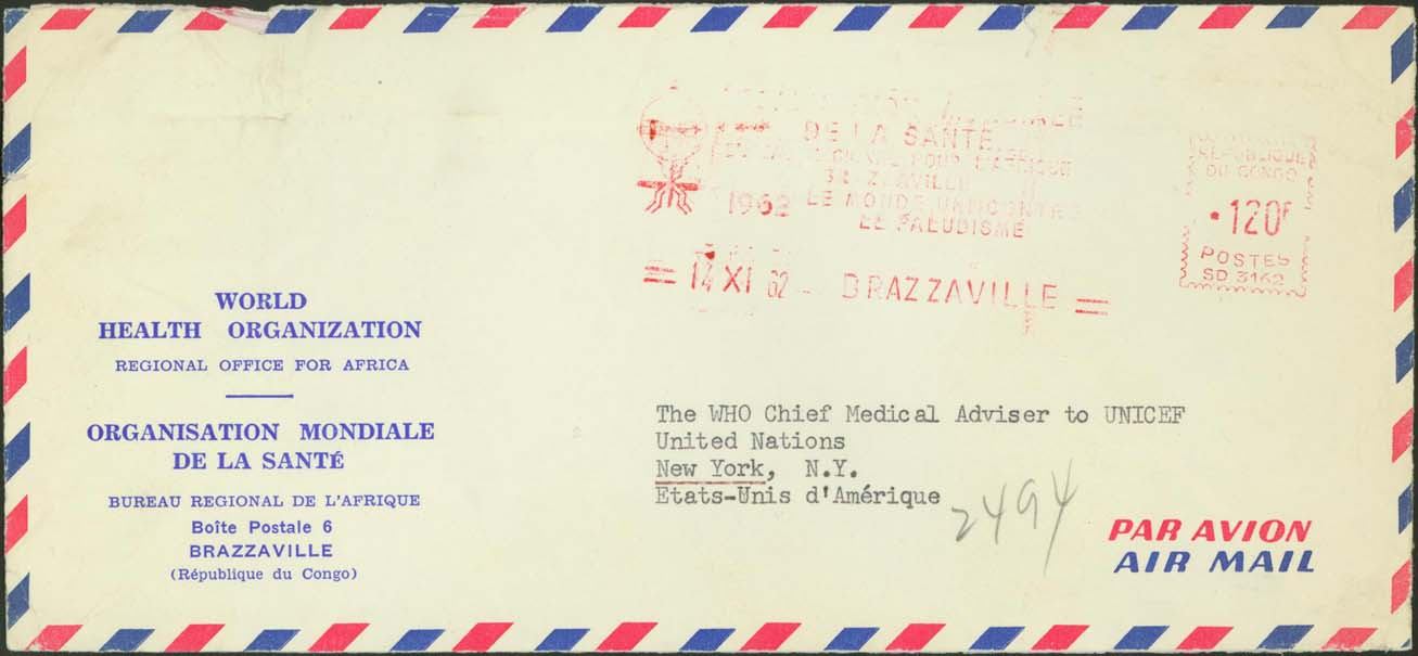 W.H.O. Regional Offices (Africa) Slogan Cancelled November 14th, 1962 - Latest Usage