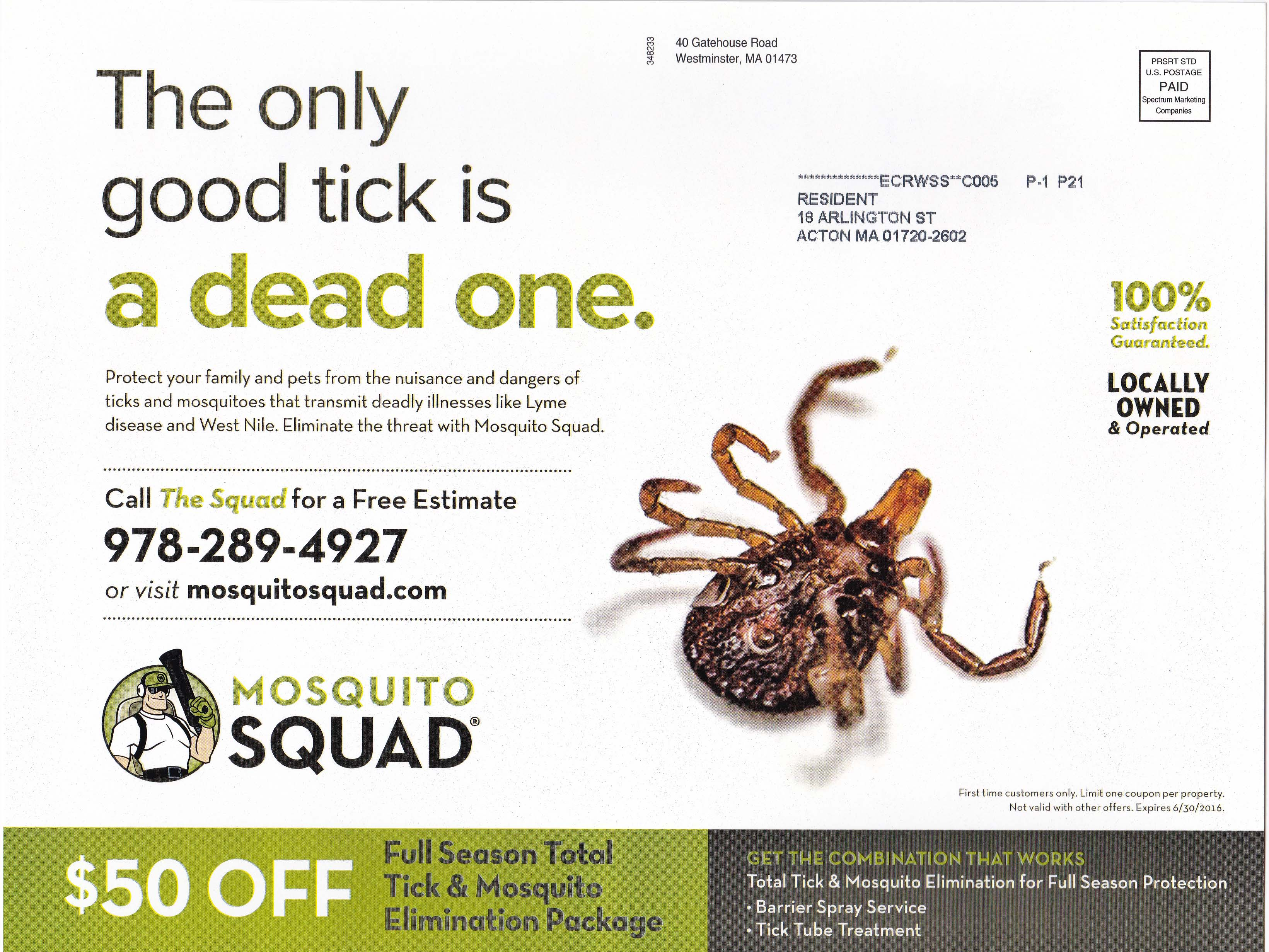 Mosquito Squad - Summer 2016 - Mailing 1 - Side 2