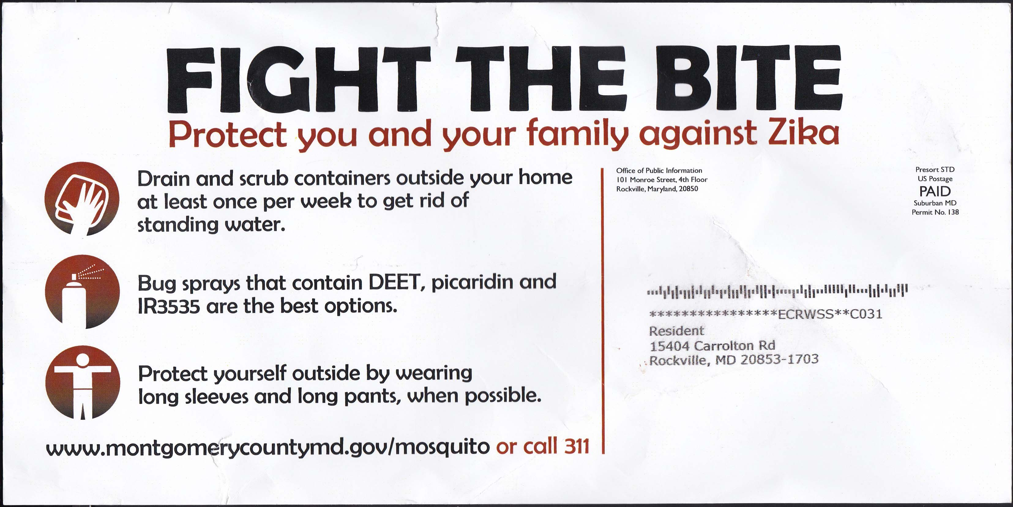 Fight The Bite, Zika Mailing - Side 2