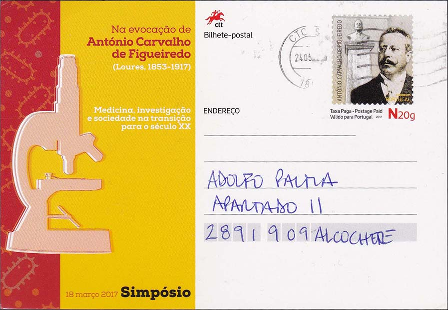 Portugal Figueiredo Postal Card Sent To A Domestic Portugal Address