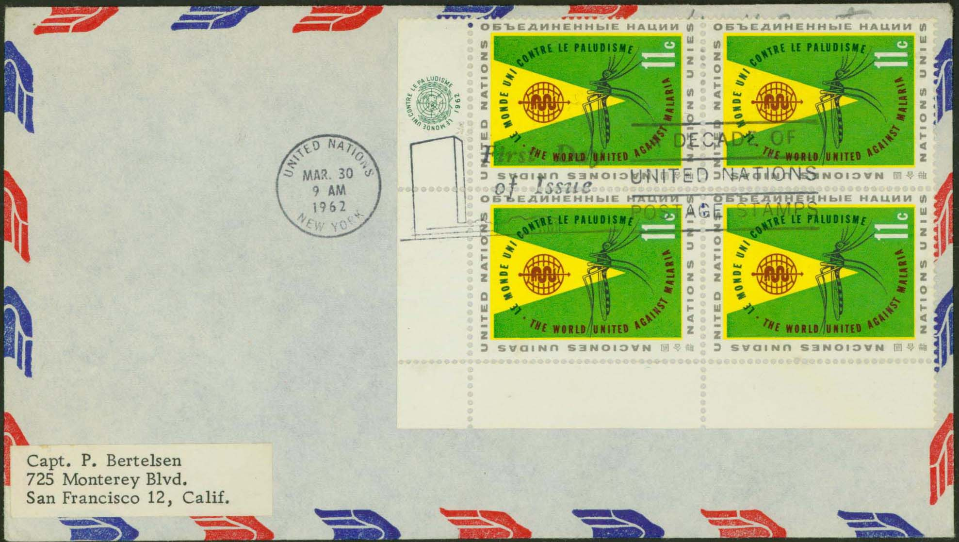 Scott 103 (Block of 4)(FDC on Airmail Envelope)