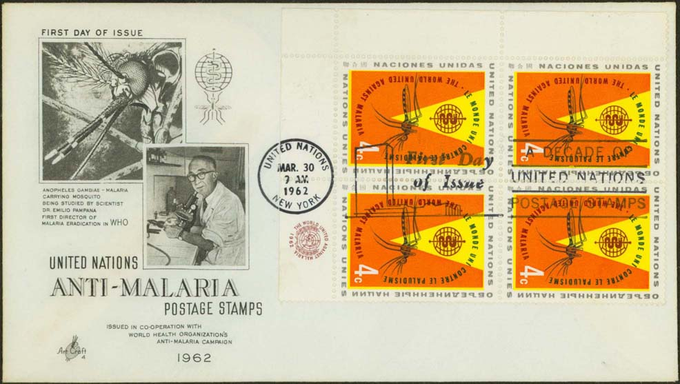 Scott 102 (MI Block of 4 - Lower Right) (FDC w/ Artcraft Cachet (Mosquito and Pampana))