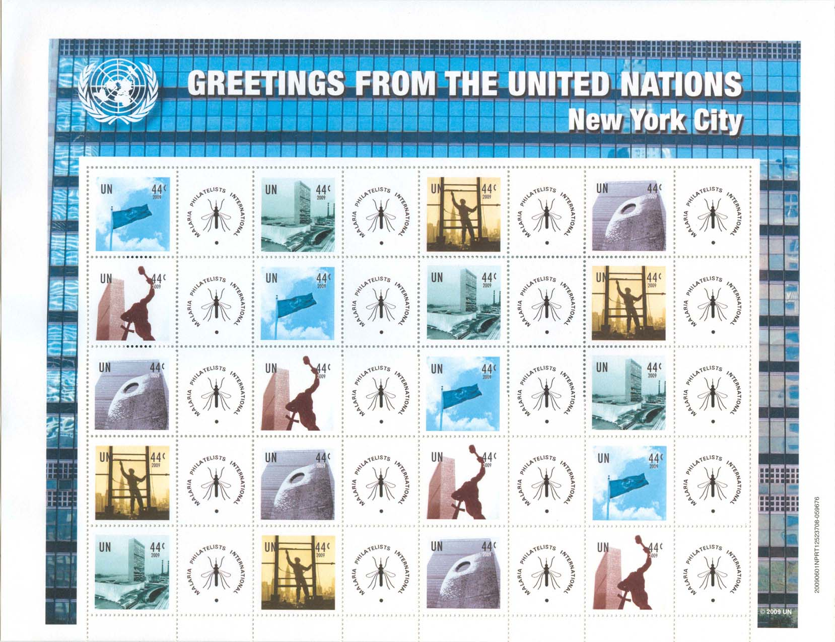 United Nations Personalized Sheet With MPI Logo - Issued June 5th, 2009