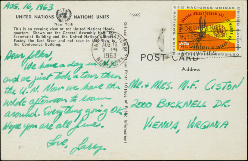 Postcard Rate: January 7th, 1963 until January 6th, 1968