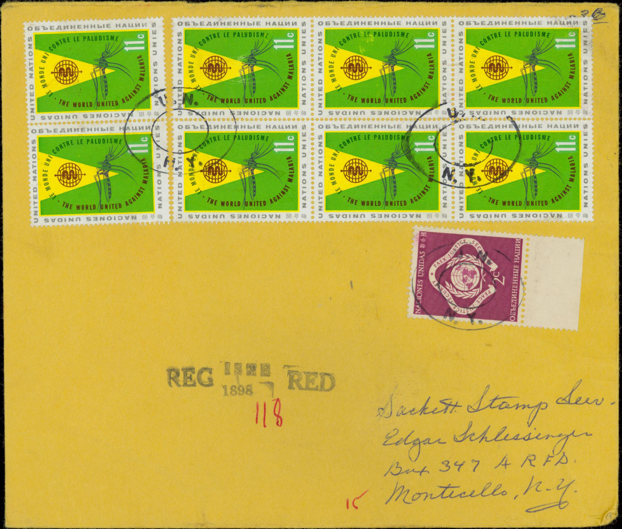 Registered Letter (front), 75¢ registration fee, 15¢ triple weight cover