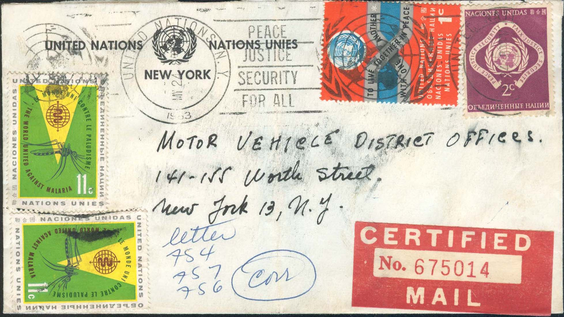 Certified Cover sent 05/24/1963