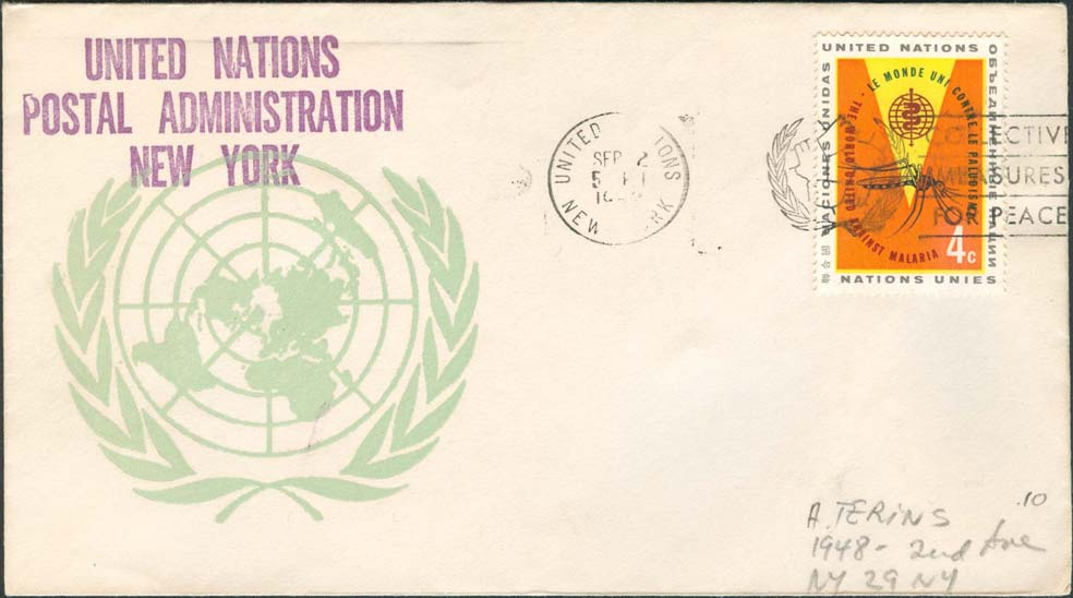 "Scott 102 1st print - Sept 2, 1962 <br />Machine slogan cancel ""Collective Measures for Peace""<br />UN Postal Administration rubber stamped return address"