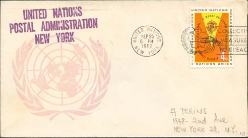 "Scott 102 1st print - Sept 25, 1962 <br />Machine slogan cancel ""Collective Measures for Peace""<br />UN Postal Administration rubber stamped return address"