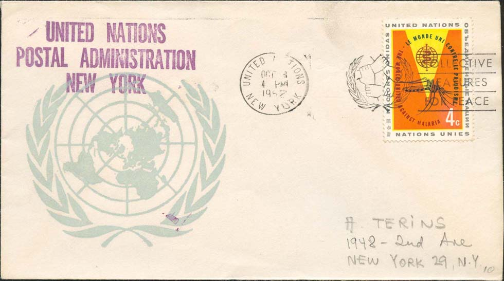 "Scott 102 1st print - Oct 3, 1962 <br />Machine slogan cancel ""Collective Measures for Peace""<br />UN Postal Administration rubber stamped return address"
