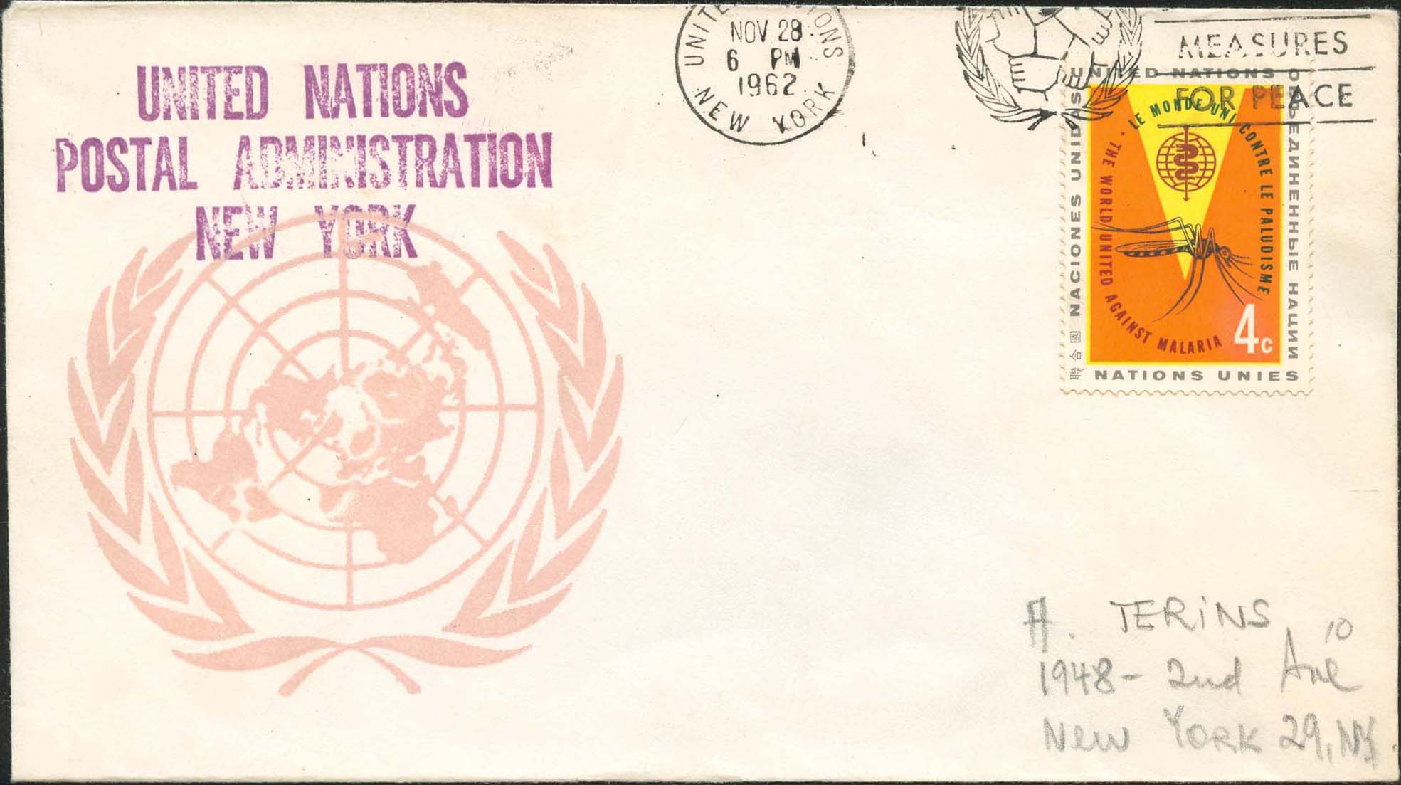 "Scott 102 2nd print - Nov 28, 1962 <br />Machine slogan cancel ""Collective Measures for Peace""<br />UN Postal Administration rubber stamped return address"