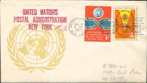 "Scott 102 2nd print - March 13, 1963 <br />Machine slogan ""Collective measures for peace""<br />UN Postal Administration rubber stamped return address"