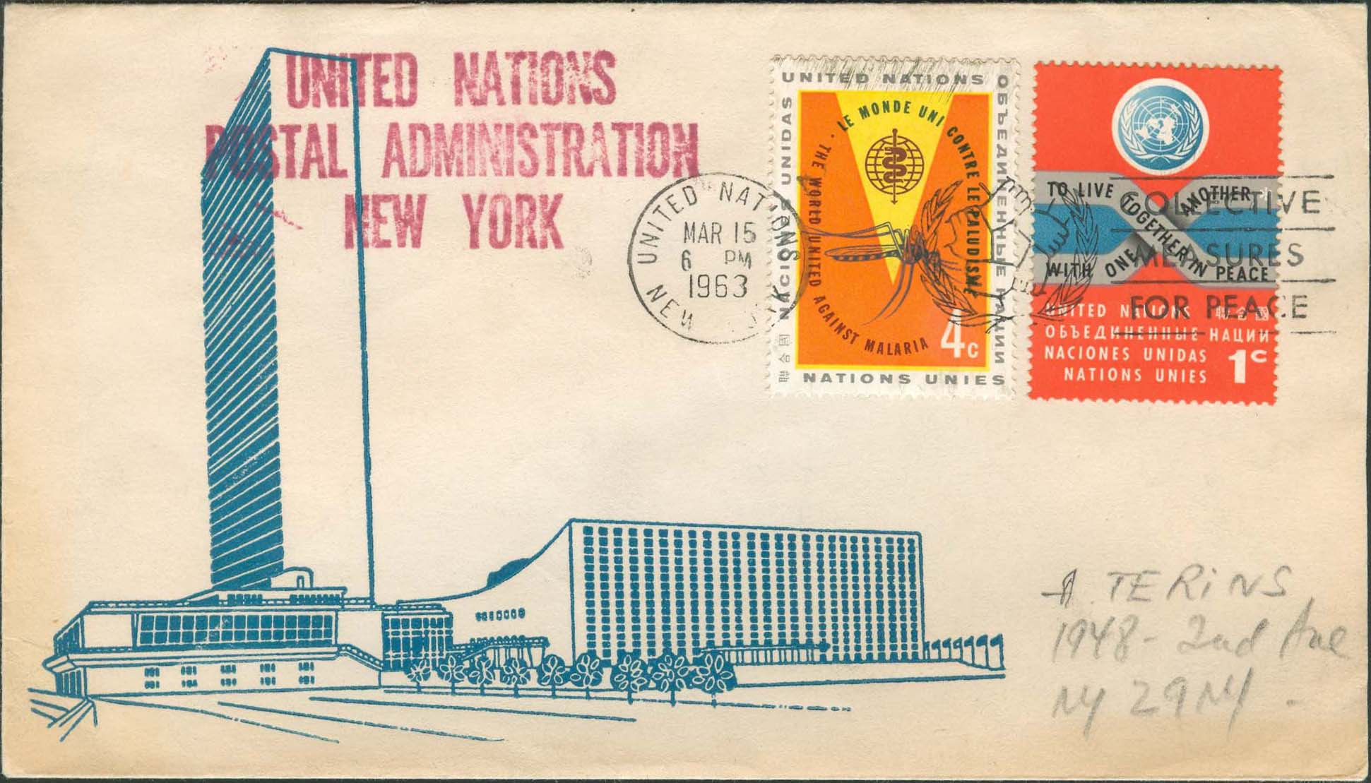 "Scott 102 2nd print - March 3, 1963 <br />Machine slogan cancel ""Collective Measures for Peace""<br />UN Postal Administration rubber stamped return address"