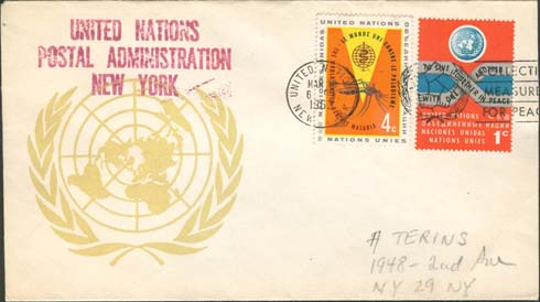 "Scott 102 2nd print - March 18 or 19,1963 <br />Machine slogan ""Collective Measures for Peace""<br />UN Postal Administration rubber stamped return address"
