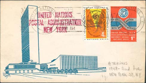 "Scott 102 2nd print - March, 26, 1963 <br />With a ""roller cancel"" - not common on small envelopes<br />UN Postal Administration rubber stamped return address"