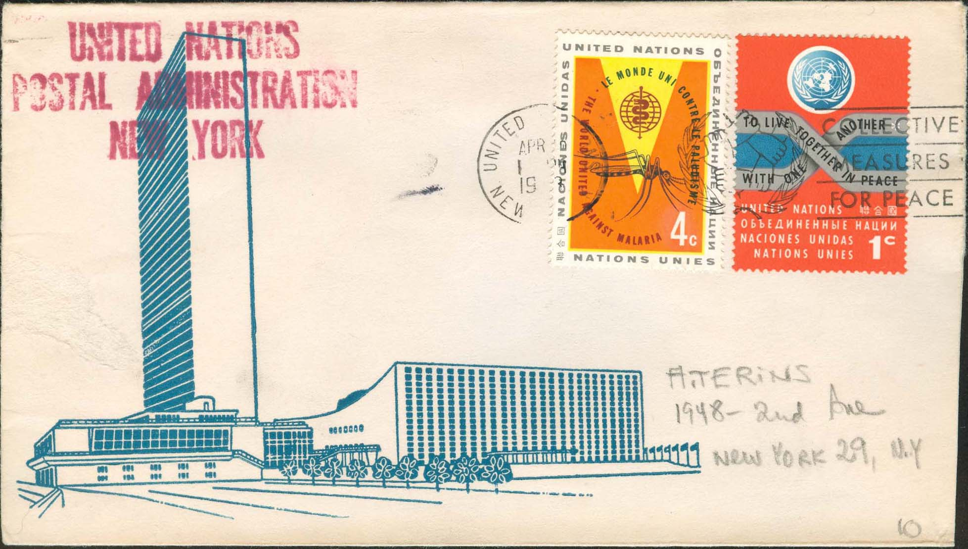 "Scott 102 2nd print - April ?, 1963 <br />Machine slogan cancel ""Collective Measures for Peace""<br />UN Postal Administration rubber stamped return address"