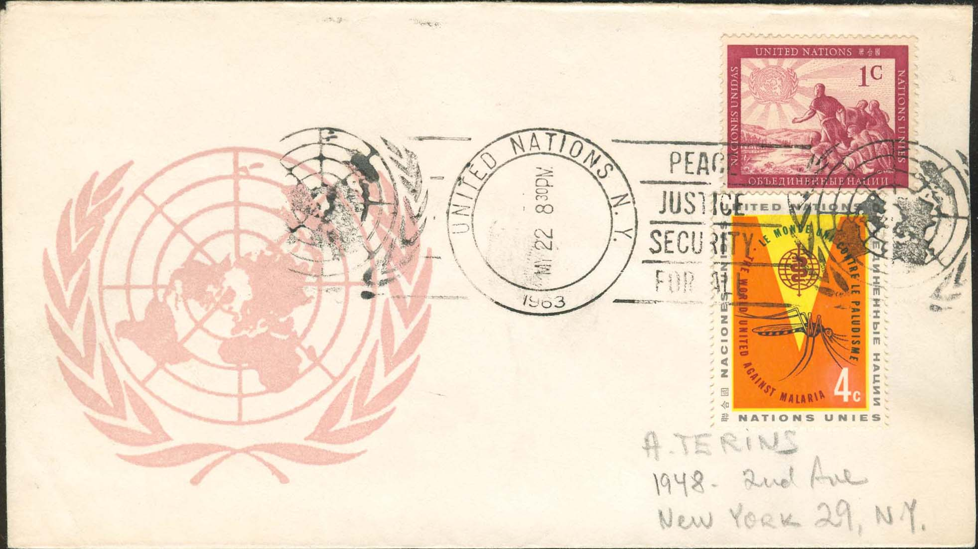 "Scott 102 1st print - May 22, 1963 <br />With a ""roller cancel"" - not common on small envelopes"