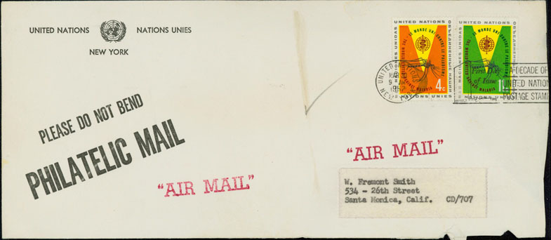 Scott 102-103 UNPA Commercial FDC With Gaines Hand Cancel M5C