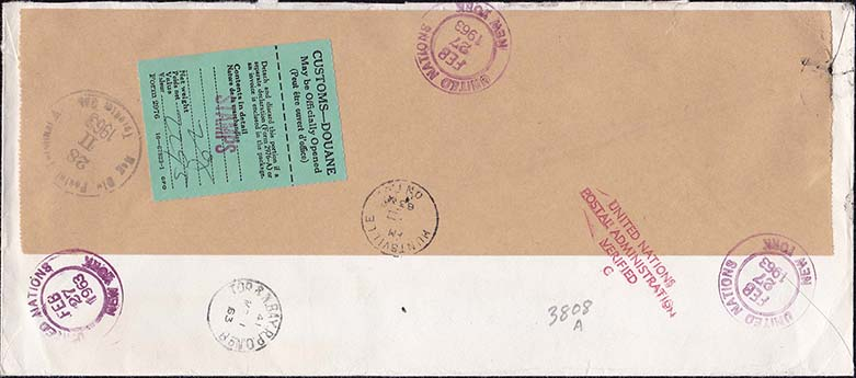 United Nations Scott 102-103 Feb 27, 1963 Registered Cover to Canada - Back