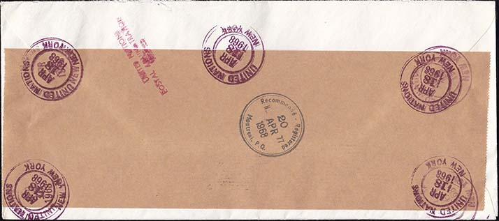United Nations 1968 Registered Cover to Canada - Back