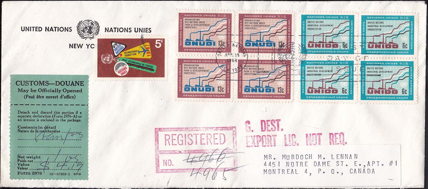 United Nations 1968 Registered Cover to Canada - Front
