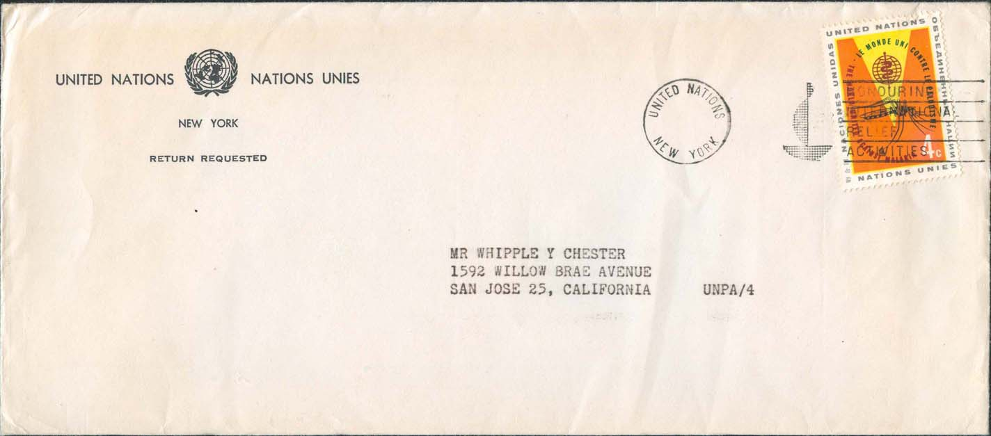 3rd Class mailing (contents dated September 15, 1963) with United Nations Scott 102