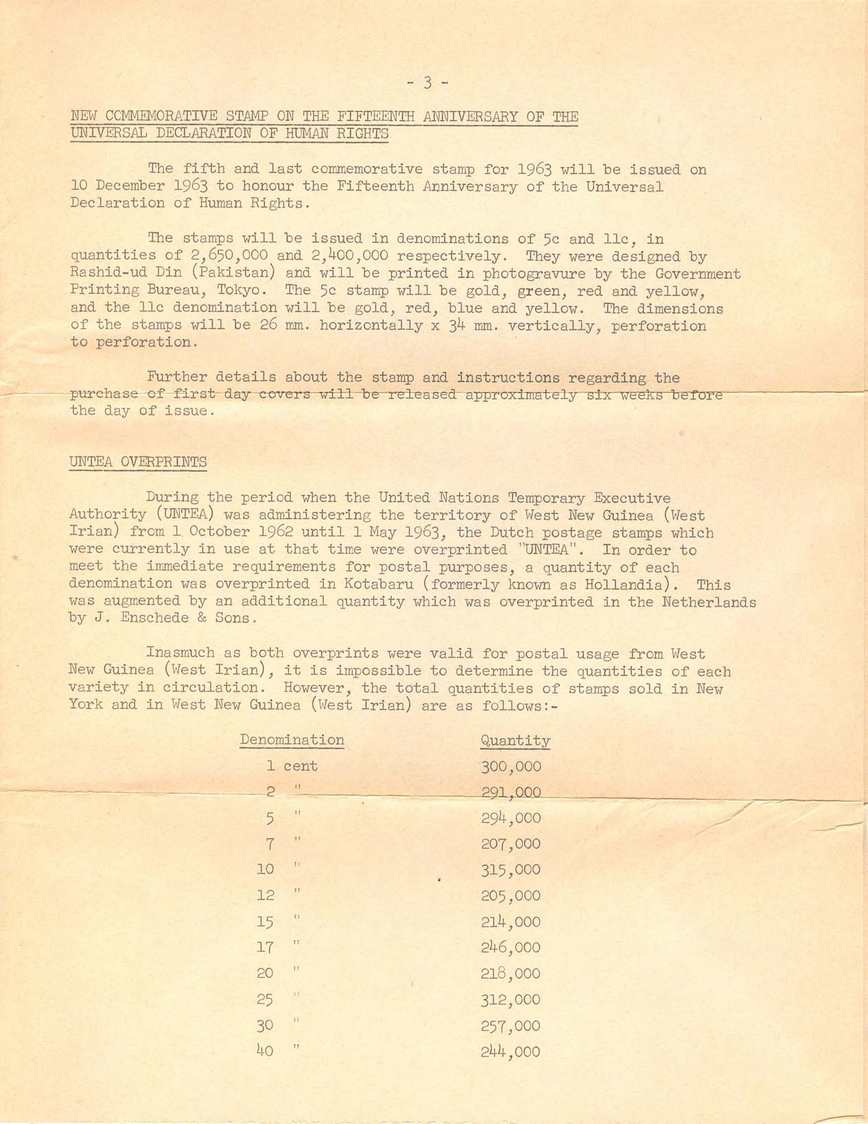 Third Class mail contents - page 3