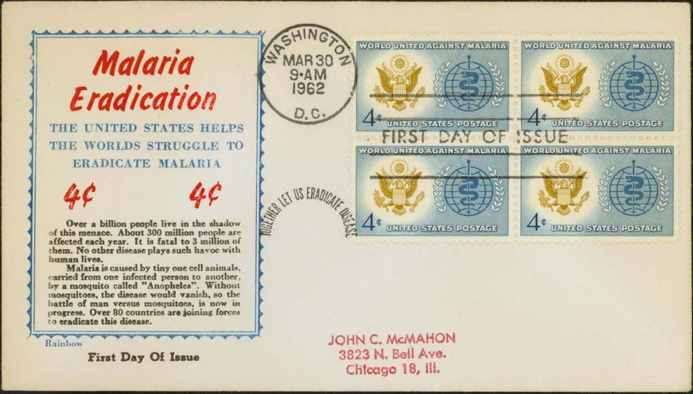 Scott 1194 (FDC w/ Rainbow Cachet)(Block of 4)<br />(Border) = Blue, (4¢) = Red, (Text) = Black, (Paper) = White