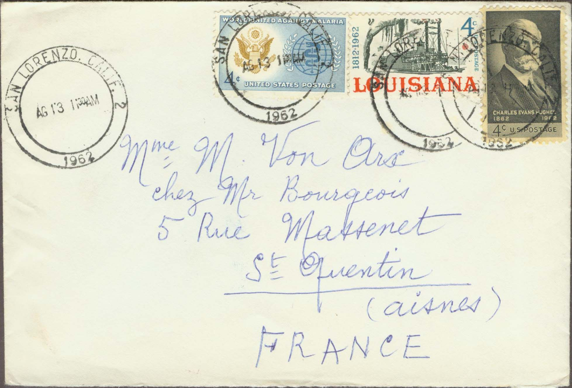 1962, August 13th. 11:30 AM. San Lorenzo, CA to France (Overpaid by 1¢)