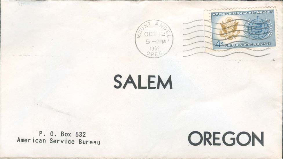 1962, October 12th, 5:00 PM. Mount Angel, OR to Salem, OR