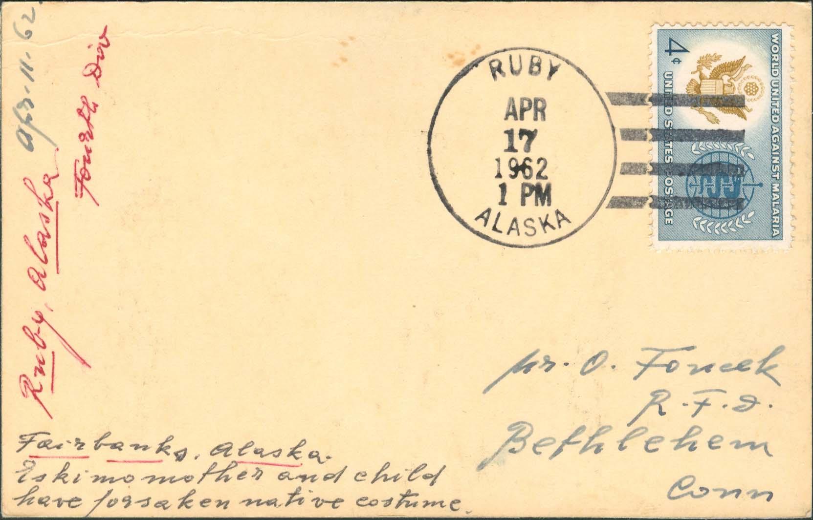 1962, April 17th, 1:00 PM. Ruby, AK to Bethlehem, CN (Overpaid by 1¢)