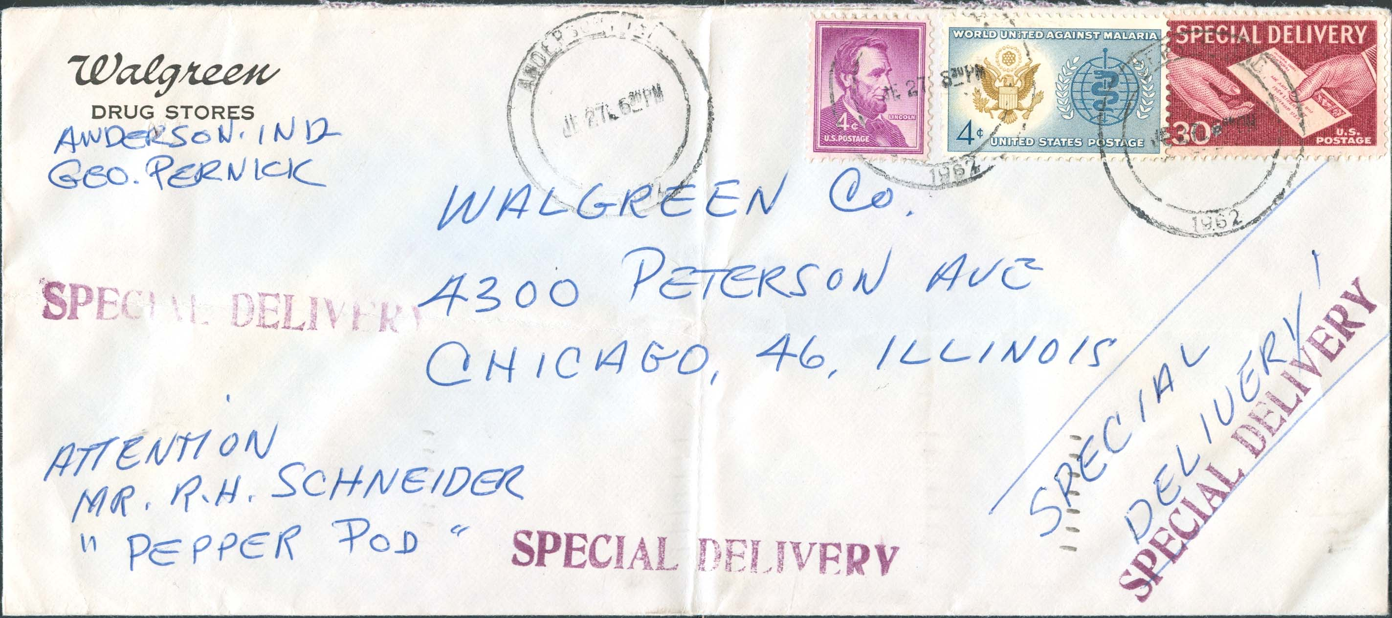 1962, June 27th, PM. Anderson, IN to Chicago, IL. 8¢ paid domestic fee - 2 oz., 30¢ paid the special delivery service - Front