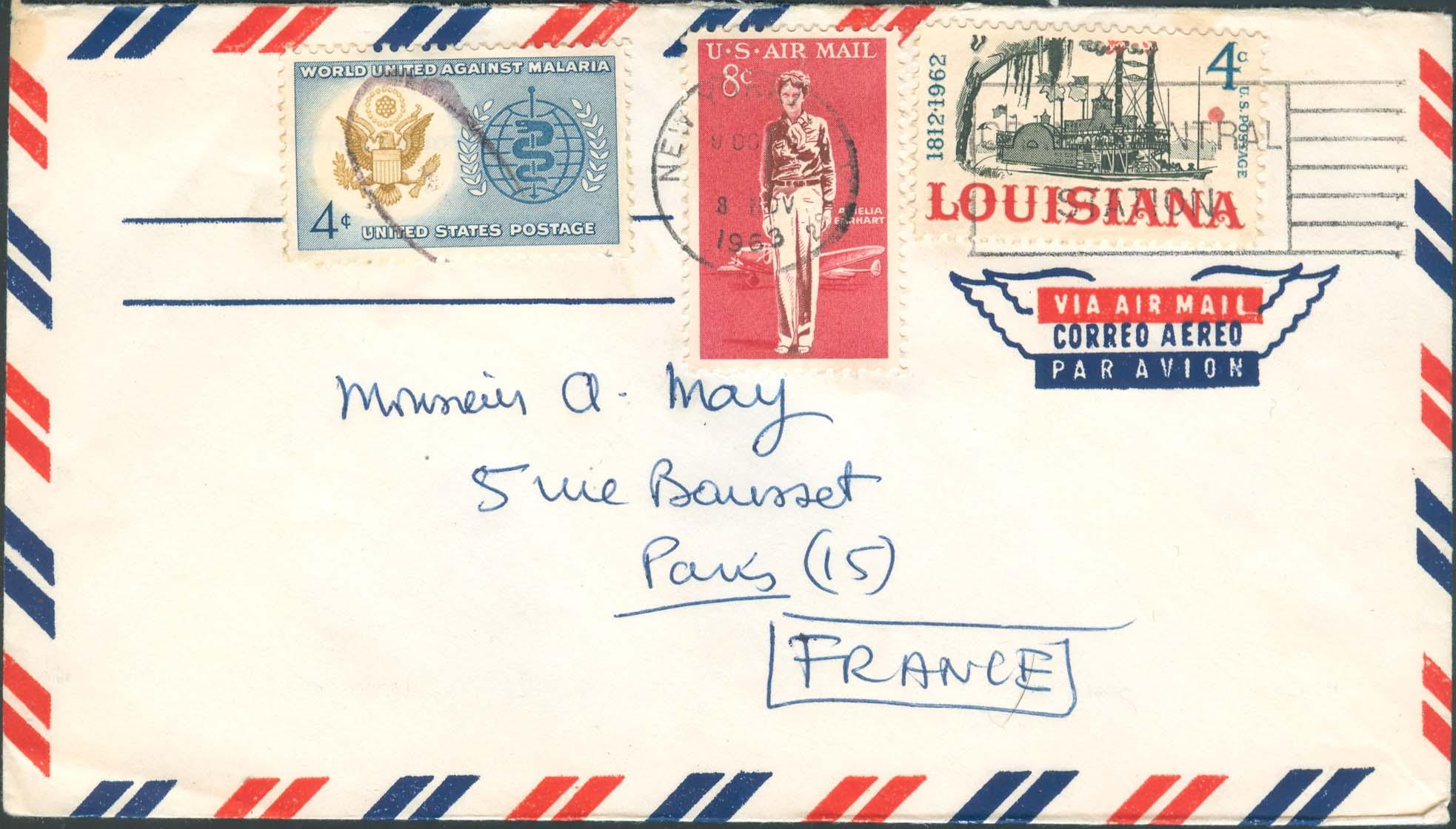 1963, November 8th, 9:00 PM. New York, NY to France (Overpaid by 1¢)