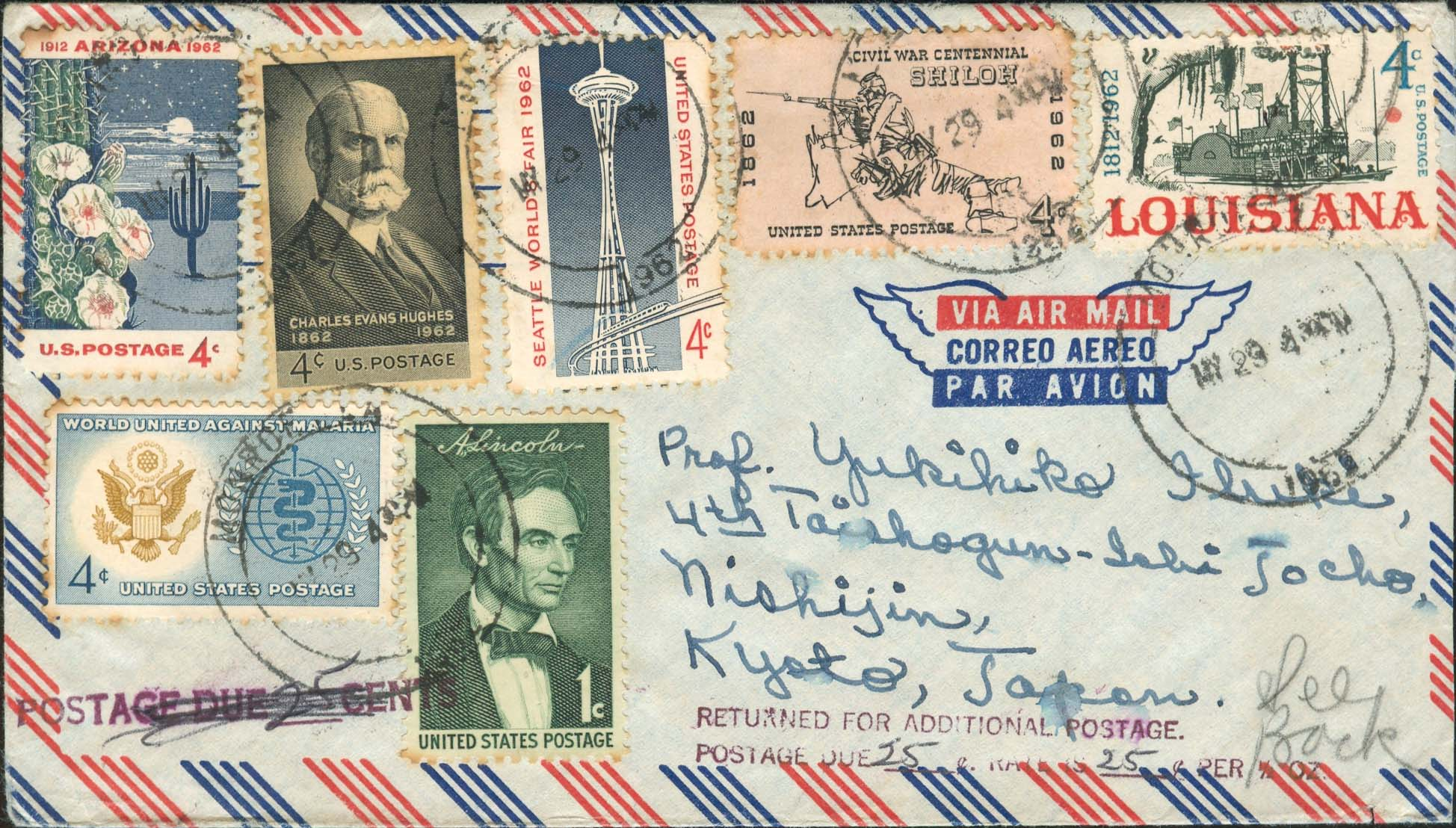 1962, May 29th, 4:30 PM Monroe, LA to Japan. <br />Cover weighed 1 oz so 25¢ more was required and returned for more postage. 25 ¢ added on the back June 2nd, 1962. - Front